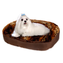 Soft Leopard Large Dog Bed For Pet Luxury Fashion Cat Kennel Dog Pad Pet Mats Dog Cushion Puppy Sofa Pet Furniture Cat Basket(China)