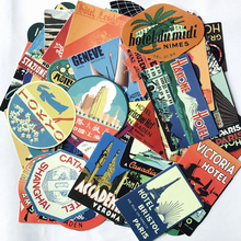 Mixed 56pcs Retro Style Travel Hotel Logo Stickers Roma Paris Los Japan Chicago Hawaii baghdad Trip Luggage Waterproof Decal