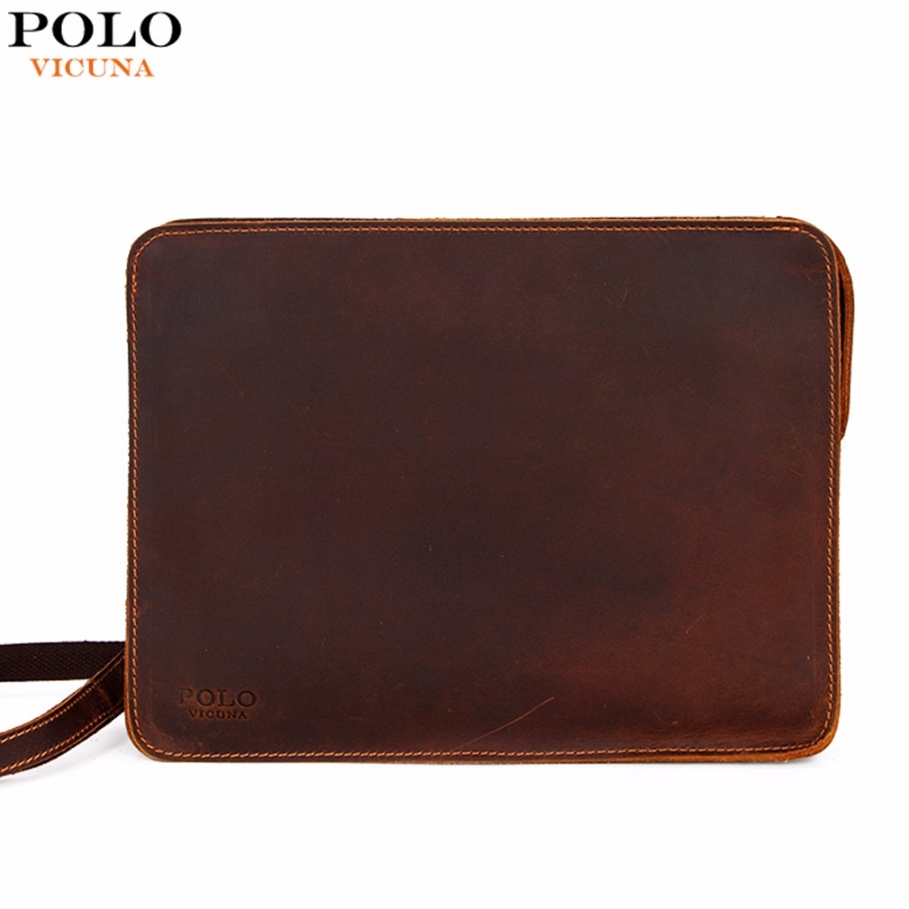 VICUNA POLO Vintage Large Size Genuine Leather Envelope Clutch Wallet For Male Multifunction Leather Mens Clutch Messenger Bag<br>