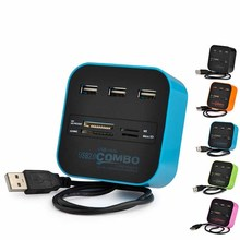 Wholesales All In One Multi-card Reader with 3 ports USB Combo USB2.0 hub for SD/MMC/M2/MS for PC Laptop Different Color