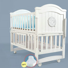 White Pine Wood Baby Cot Bed, can Converts into a Junior Bed, baby crib can be rocking cradle(China)