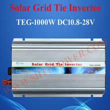 Free shipping 50Hz/60Hz DC 10.5V~28V AC 90V-130V 190V~260V Grid Tie 1000W Pure Sine Wave Solar Inverter for PV Power 1200W