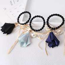 Women Morning Flower With Pearl scrunchy Headband Lady Hair Gum Headwear Ribbon Elastic Hair Band Women Girl Gum for Hair(China)