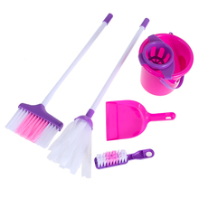 Girls Housekeeping Cleaning Play Set Pink Broom/Mop/Bucket/Dustpan/Cleaning Brush Sweep Pretend Role Play Toy Kit(China)