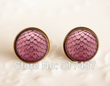 wholesale Game of thrones inspired jewelry ,Stud Glass Cabochon Earrings, RED Dragon Egg Handmade Glass Earrings(China)