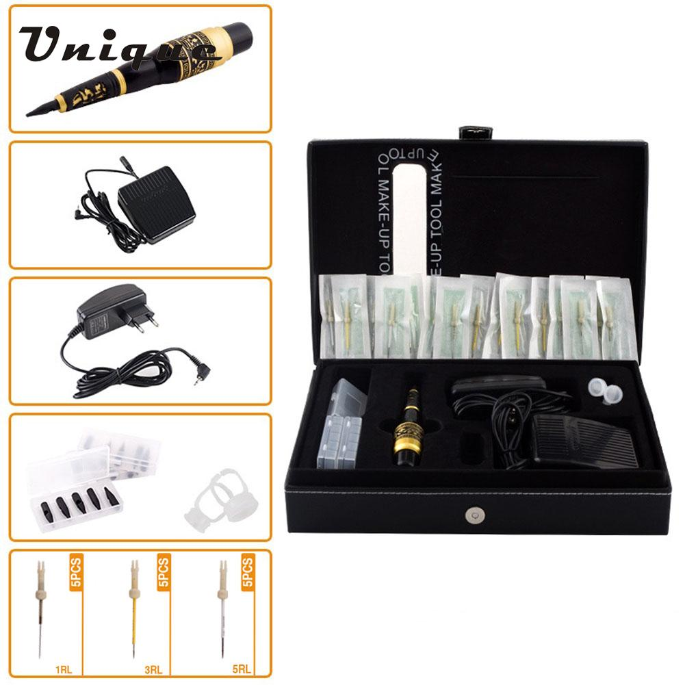 Strong Power Tattoo Machine Kit Professional Eyebrow Tattooing Pen Permanent Makeup Tattoo Eyebrow Pen #CH-103T EU Plug(China (Mainland))