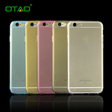 Ultrathin Phone Bag Case for iPhone 6 6S Plus Cover Slim Clear TPU Silicon Covers Shell Transparent Protective Pink Blue Gold