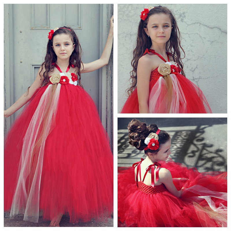 Princess Flower Girls Tutu Dress Ankle-Length Red Festival Party Cute Baby Girls Boutique Ball Gown Dresses PT65<br><br>Aliexpress