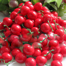 50 PCS/lot Mini Fake red cherry Plastic Fruit Small Berries Artificial Flower  Stamen Pearlized Wedding Christmas Decorative