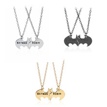Trendy BATMAN ROBIN Best Friends Personalized Necklace Friendship Pendant For Gifts 3 Colors Option Wholesale 12sets/lot(China)