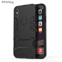 BYHeYang For Apple iPhone X Case Slim Robot Armor Kickstand Shockproof Hybrid Rubber Hard Back Case For iPhone X iPhoneX Cover(China)