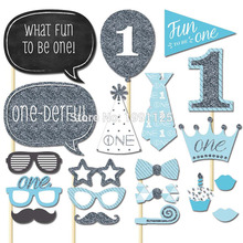Set of 20 P 1st Birthday Boy Girl Photo Booth Props on A Stick DIY Kits Photobooth Fun to be One Party Decoration Centerpieces