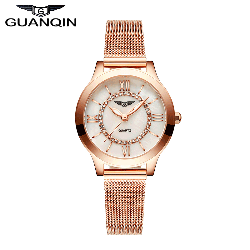 2017 Women Watch New Fashion Luxury Top Brand GUANQIN Gold Clock Female Waterproof Ladies Quartz Wristwatch relogio feminino<br><br>Aliexpress