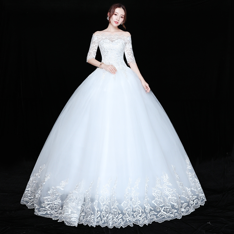 Cheap Boat Neck Lace Up Ball Wedding Dresses Vintage Plus Size Bridal Dress Wedding Gown Embroidery Appliques bryllupskjole