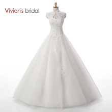 Vivian's Bridal Beaded Sequin A Line Lace Wedding Dress 2016 Weeding Tulle Cap Sleeve Long Wedding Gown WD3312(China)