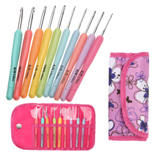 Set 10PCS/Set Aluminum Crochet Hooks Knitting Needles Multi Color Soft Plastic Grip Handle Weave Craft 2.0mm-6.0mm with Bag