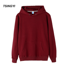 Tsingyi Autumn 4XL Solid Brand Hooded Hoodies Men O-neck Long Sleeve Streetwear Casual Hip Hop Sweat Homme Men Hoodie Sweatshirt(China)