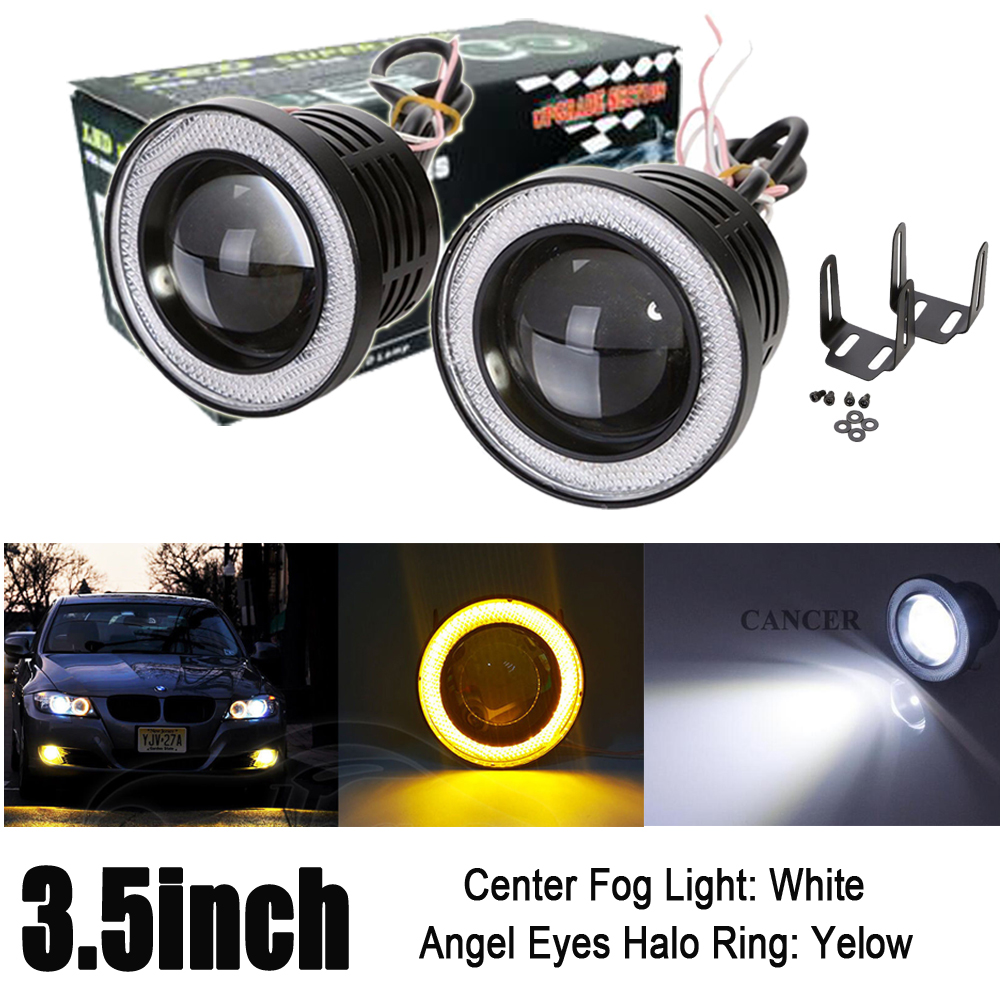 2X 3.5 inch 89mm LED Round COB Projector Fog Light High Power Bulbs Lamp with Amber Angel Eyes Halo Ring DRL Car Auto 12V<br>