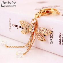 Imixlot 1pcs Fashion Dragonfly Crystal Keyring Charm Pendant Purse Bag Key Ring Portable Keychains Wholesale