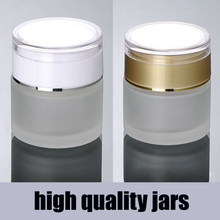 20g 30g 50g Acrylic cap matte white/gold glass cosmetic containers cream jar,Frosted glass bottle for cosmetic packaging