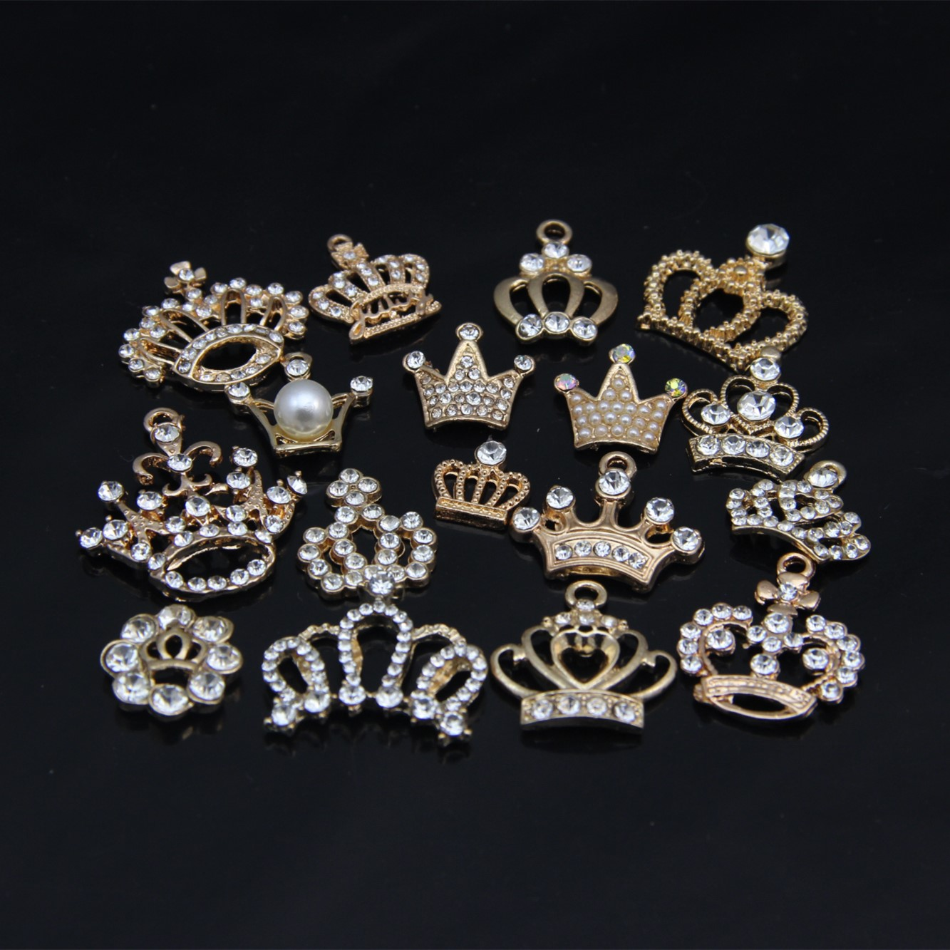 10pcs Crown Rhinestone metal pendant DIY Handmade necklace Jewelry makeing