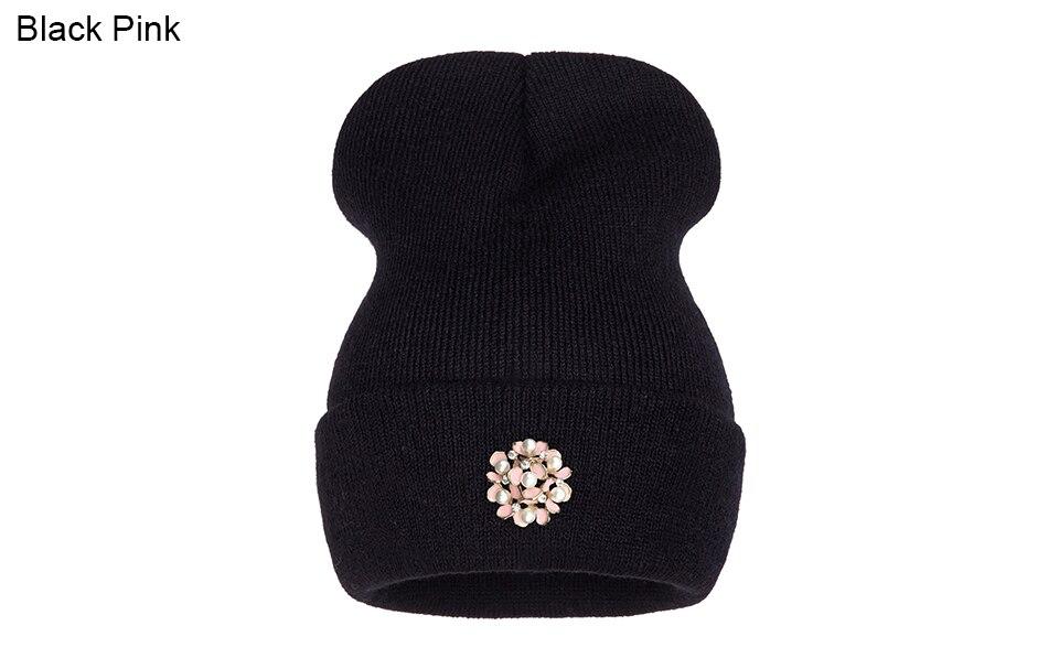 Ralferty Winter Hats For Women Flower Beanies Skullies Female bonnet femme gorros cappelli Cap Beanie gorra Black Acrylic Hat 8