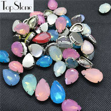 Topstone 20pcs Big Sizes Mix Sizes Color Opal Teardrop Oval Sew On Stone Resin Sewing Jewelry Beads with claw setting