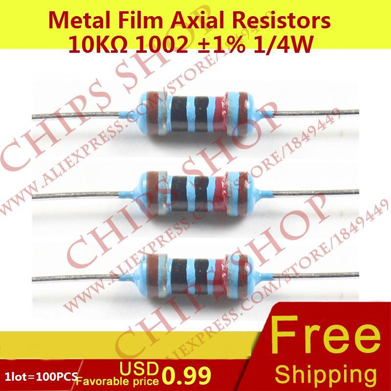 1LOT=100PCS Metal Film Axial Resistors 10Kohm 1002 1% 1/4W 10000ohm 0.25W Wattage1/4W electronic components china(China)
