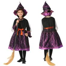 2017 Girl Witch Dress + Hat Cap Princess Party Dresses Halloween Girl Cosplay Witch Dress Hat Costumes Magic Fancy Cool Outfits(China)