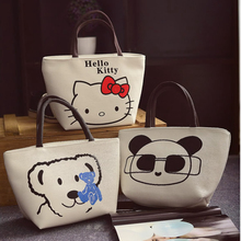 Women Cartoon Hello Kitty Minnie Printed Tote Casual Beach Bag Female Canvas Handbag Daily Use Single Shoulder Shopping Bags