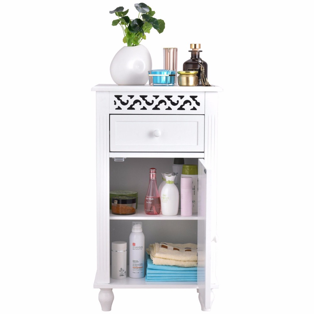Giantex Storage Floor Cabinet Bathroom Organizer Floor Cabinet Drawer Kitchen White Modern Bathroom Furniture HW57018 4