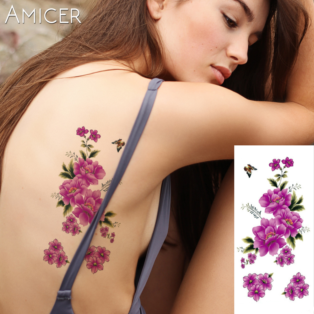 3D lifelike Cherry blossoms rose big flowers Waterproof Temporary tattoos women flash tattoo arm shoulder tattoo stickers 13