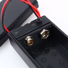 Hot Sale Black Plastic 9V Volt Battery Cover Holders DC With Wire Lead ON/OFF Switch Cover Battery Storage
