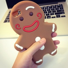 High Quality Fashion 3D Cartoon cookies smile Gingerbread Man soft Rubber phone case cover shell for iPhone 5 5s 6 6Plus 7 7P