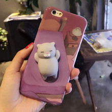 Cat Phone Case For iPhone 7 6 6s KISSCASE 3D Cute Cartoon Silicon Ultra Hard Phone Cases For iPhone 6s 7 Plus X Case Coque Cover(China)