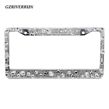 free shipping Car Auto Metal License Plate Frame Holder With Screw Cap Crystal Diamond Rhinestone Bling Bling Mix Clear Luxury