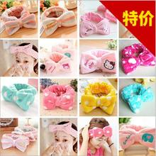 YWHUANSEN Bowknot Dot Peach Hearts Hello kitty Plush Headband Bathing/Wash Face/Make Up Hairbands Popular hair accessories