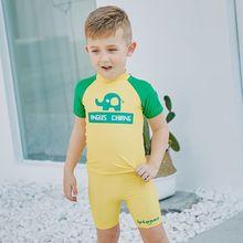 f7640cbbe6 Bikini 2018 Kids Boys Summer Short Sleeves Clothes Swimsuit Child UV  Protection Kids Swimming Wear Baby