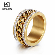 Kalen New Fashion Jewelry Stainless Steel  Italian Gold Color Silver Color Ring Women Wedding Engagement Anniversary Party Ring