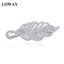 LOWAY Wholesale Jewelry Supplier New Luxury Fashion Brooches Leaves Korea Style Leaf CZ Wedding Bridal Women HJ8066