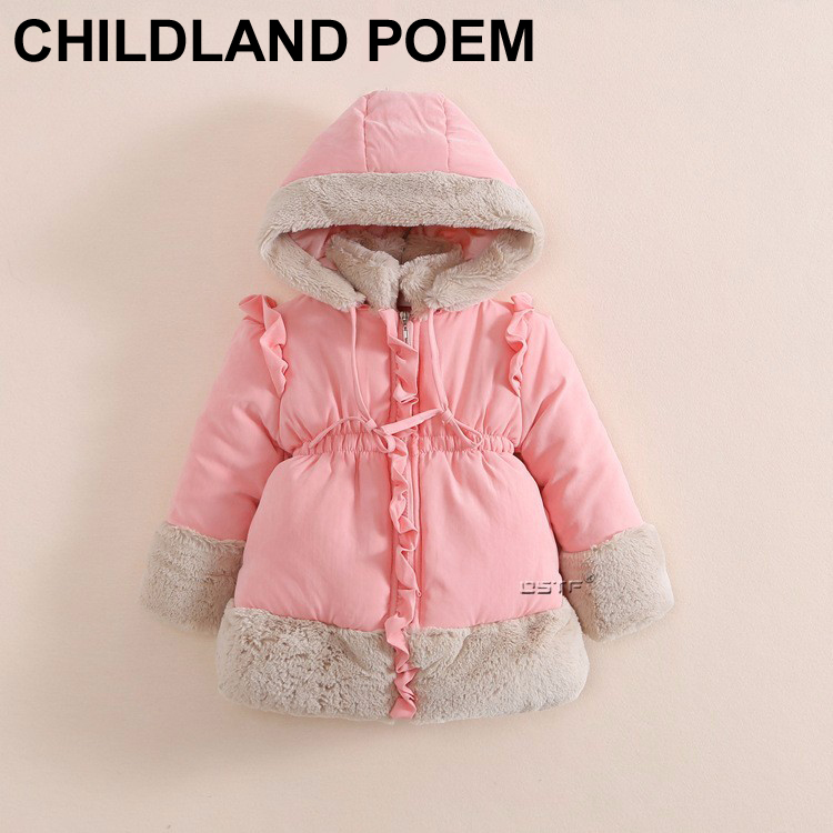 Cute princess girls winter coat jacket thick warm fleece Childrens Parkas hooded coats cotton children outerwears girls clothesОдежда и ак�е��уары<br><br><br>Aliexpress