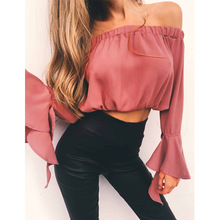 Sexy Off Shoulder Blouse Tops Flare Sleeve Summer Tops Elegant Ukraine Pink Women Blouses Blusas Black Blue Yellow Clothing