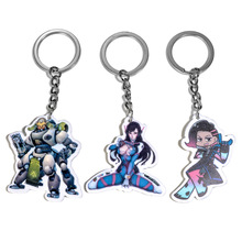 10 Pcs/Lot Game Over Watch Keychains for Best Friends Anime DVA PVC Keychain Mens Keyring Cosplay Key Chain Holder Porte Clef(China)