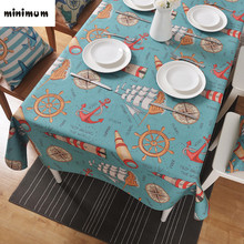 Ocean winds Creative Linen tablecloth Mediterranean coffee table Round table cloth Dining table Cloth cover custom made