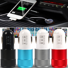 Good Mini USB Charger Matel Dual Port USB Car Charger For iPhone Samsung S5 Xiaomi Mobile Phone USB Phone Car Charger Adapter