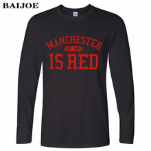 BAIJOE Brand United Kingdom Red Letter Print Long Sleeve T Shirt Men Cotton O-Neck Manchester Tee Shirts Camisa Masculina tees