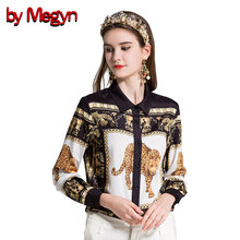 by Megyn women fashion leopard print blouse women blouses plus size 3xl feminine shirts blusas vintage long sleeve blouse tops(China)