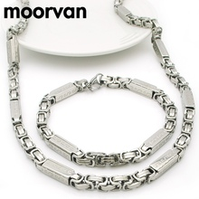 Moorvan necklace bracelet set men byzantine greek key chain jewelry sets for man boy stainless steel gift VJS111(China)