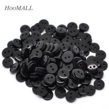 Hoomall Black Resin Buttons 2 Holes Round Sewing Scrapbooking Crafts 9x2mm 100PCs