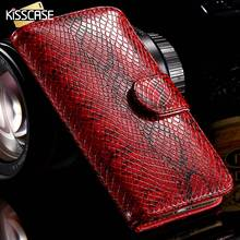 KISSCASE Leather Flip Case For iPhone 6 6s Plus 5 5s SE Snake Skin Phone Cases Fashion Card Slots Stand Cover For Samsung Note 5